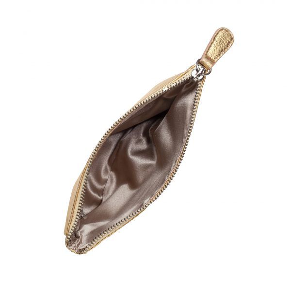 Guldfärgad sminkväska i äkta läder