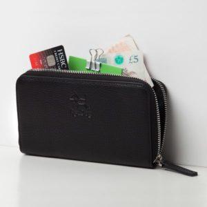Plånbok i äkta läder, svart