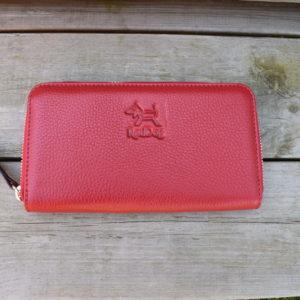 Röd plånbok i äkta läder